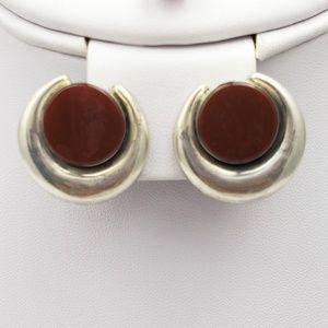 Jewelry - Vintage Silver Carnelian Agate Clip on Earrings